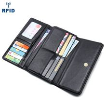 JOYIR New 2019 Genuine Leather Vintage Wallets Male Anti-magnetic  Men Purse Long Clutch Coin Wallet Card Holder