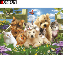 """HOMFUN Full Square/Round Drill 5D DIY Diamond Painting """"Animal Cats Dog"""" Embroidery Cross Stitch 5D Home Decor Gift A07394"""