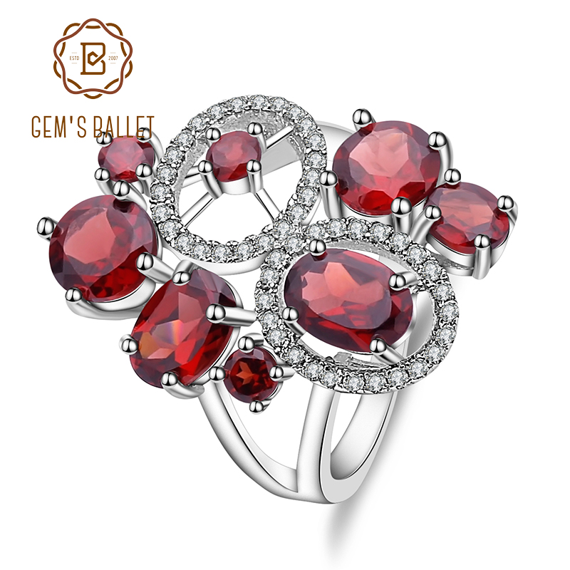 GEM'S BALLET Natural Garnet Ring Genuine 925 Sterling Silver Gemstone Rings Flowers Trendy For Women Romantic Gift Fine Jewelry