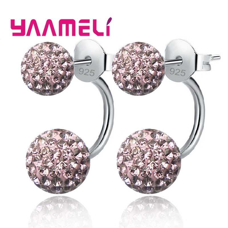 11 Colors Options!! Full Austrian CZ Crystal Paved Stud Earrings for Women 925 Sterling Silver Two Disco Balls Brincos Jewelry