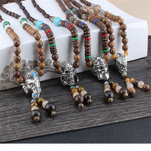 Vintage Nepal Buddha Necklace Bohemian Wood Beads Long Sweater Chain Statement Necklaces Pendant Bijou for Women Jewelry