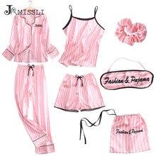 JRMISSLI Spring Autumn Satin Silk Women Pajama Set Long Sleep Blouse Pant Top Quality Lady Nightwear