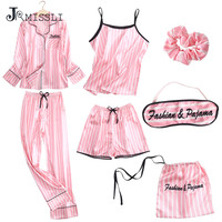 JRMISSLI Spring Autumn Satin Silk Women Pajama Set Long Sleep Blouse Pant Top Quality Lady Nightwear Female Sexy Sleepwear