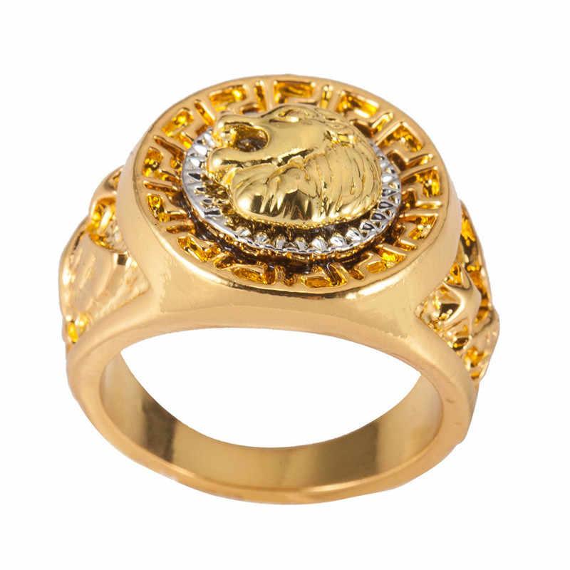 Vintage Charm złoty kolor klasyczny Punk Rock Hip Hop pierścienie dla mężczyzn fajne męskie głowa lwa zwierząt pierścień moda biżuteria ręczna