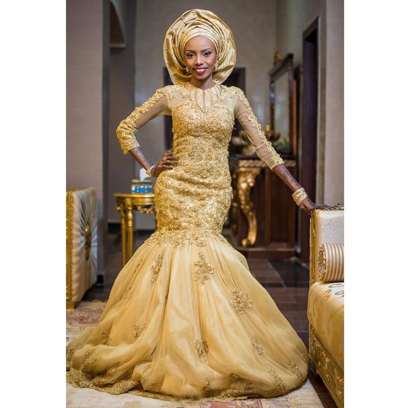 Gorgeous   Evening     Dresses   Mermaid Full Sleeves vestido longo Chic   Evening     Dress   Casamento Formal Gowns Beaded Appliques Elegant