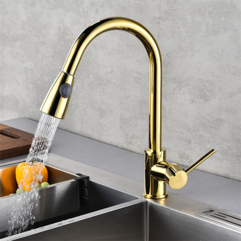 Sink Kitchen Mixer Tap Gold Pull Out Kitchen Faucet Deck Mount Kitchen Sink Faucet Mixer Cold Hot Water Torneira Cozinha Rotate