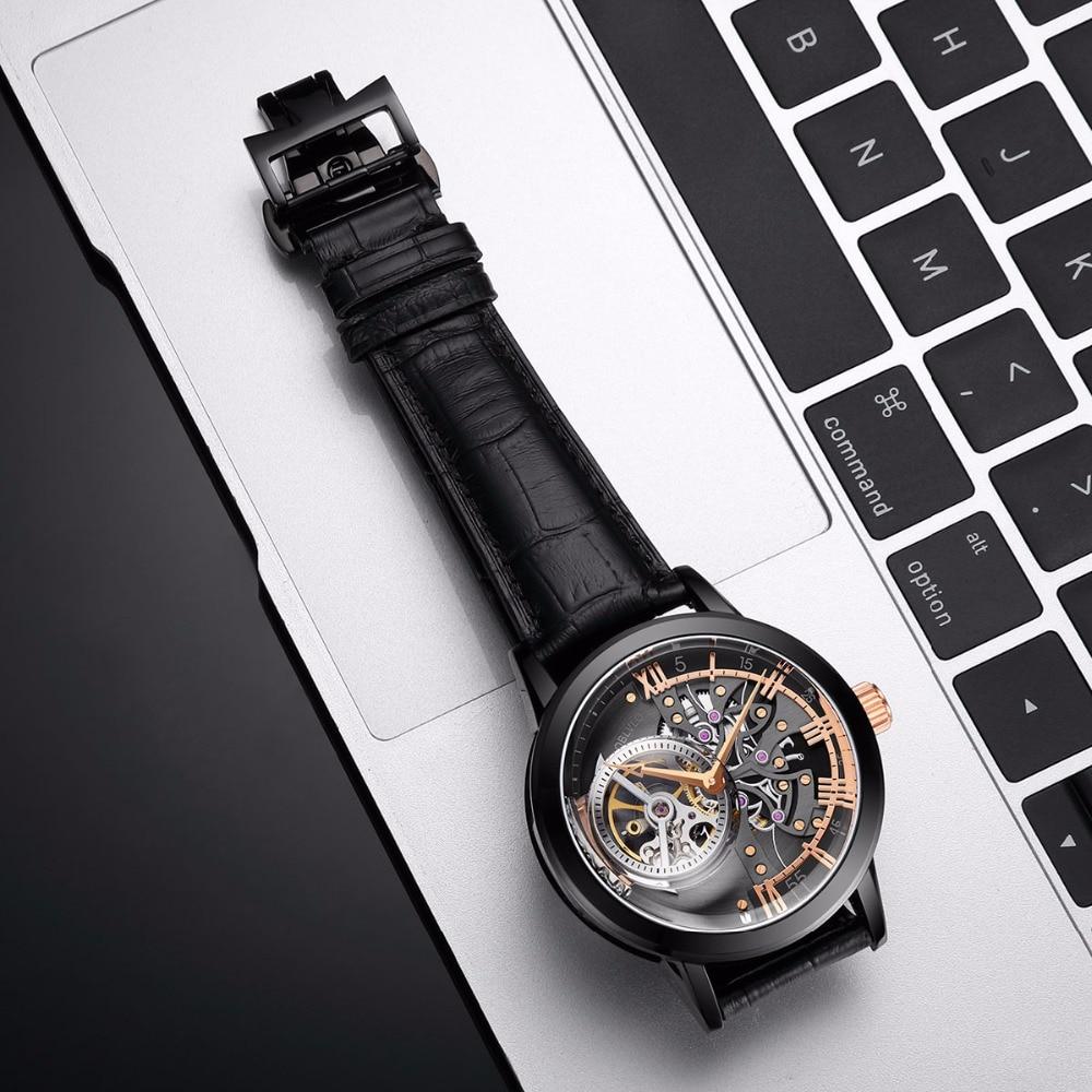 OBLVLO Designer squelette montres pour hommes mode noir acier automatique montres en cuir véritable bande montres analogiques VM 1 - 4
