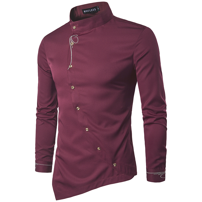 Men Shirt 2017 Spring Personality Oblique Button Irregular Men Casual Shirt New Arrival Long Sleeve Casual Slim Fit Male Shirts