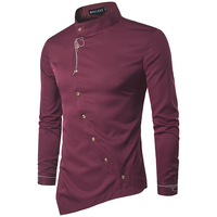 Men Shirt 2017 Spring Personality Oblique Button Irregular Men Casual Shirt New Arrival Long Sleeve Casual