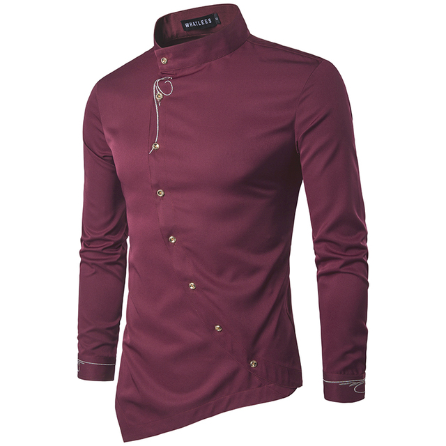 Men Shirt 2018 Personality Oblique Button Irregular Men Casual ...