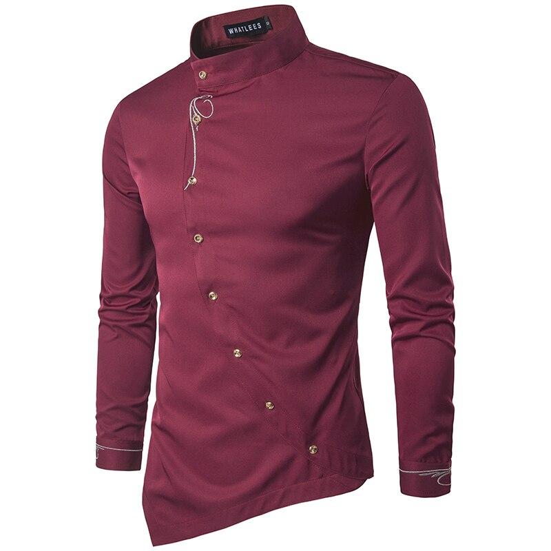 Men Shirt 2018 Personality Oblique Button Irregular Men Casual Shirt New Arrival Long Sleeve Casual Slim Fit Male Shirts EU size
