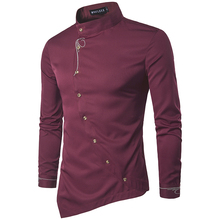 Men Shirt 2017 Spring Personality Oblique Button Irregular Casual New Arrival Long Sleeve Slim Fit Male Shirts