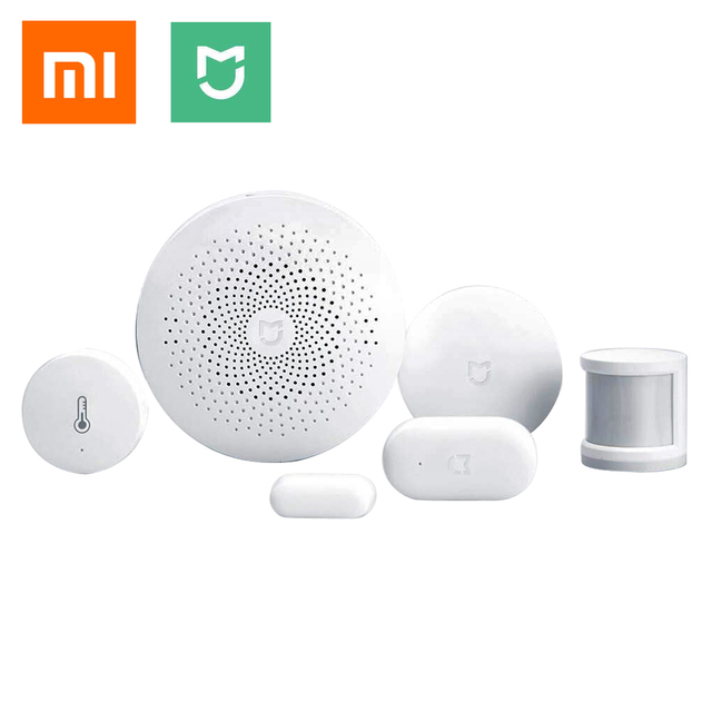 Xiaomi mijia 5en1 puerta de enlace + puerta/ventana, temperatura/Humedad, Sensor Del Cuerpo humano + Kit de Conmutador Inalámbrico de Casa Inteligente