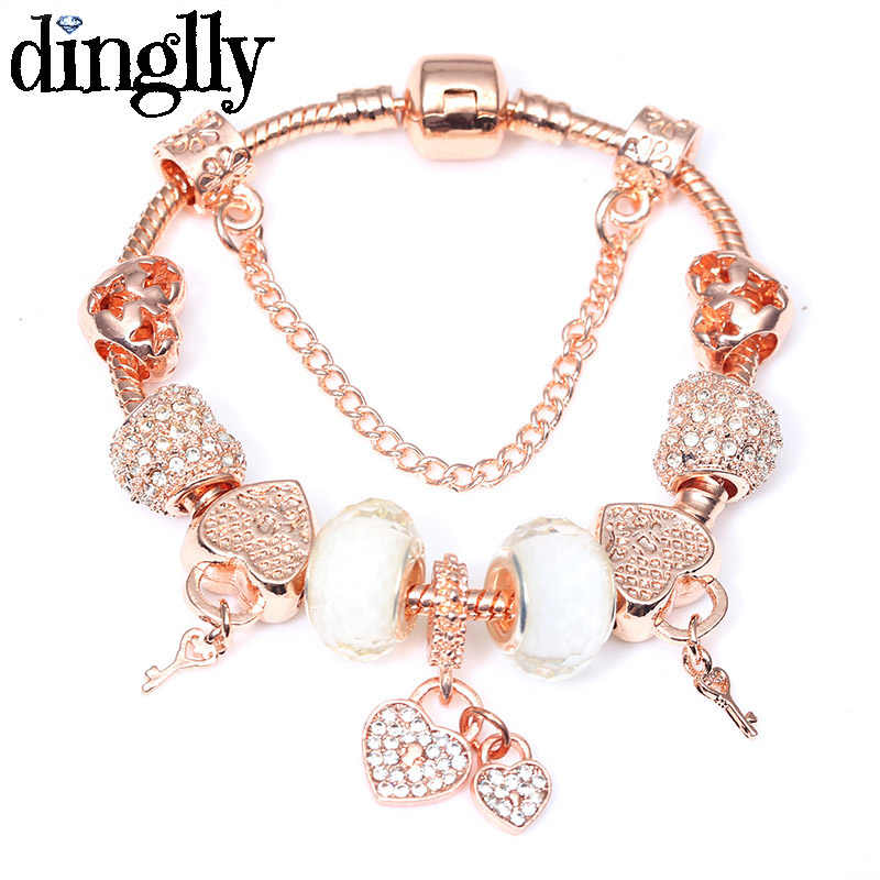 DINGLLY Rose Gold Charm Brands Bracelet For Women Feminine Girls Couple Lovers DIY European Classic Friendship Bangles Gifts
