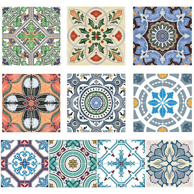 5pcs Anti slip Floor Stickers Bedroom Wall Stickers Bohemian 3D Waterproof Bathroom Tile Stickers for Decoration Renovation in Wall Stickers from Home Garden