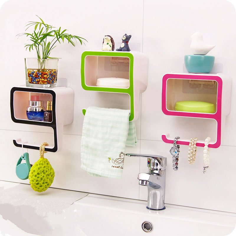 Aliexpress Buy DIY Digital 9 Non Trace Sucker Toilet Shelf Soap Jewelry Organization Storage Box And Hook For Kitchen Bathroom Accessories From