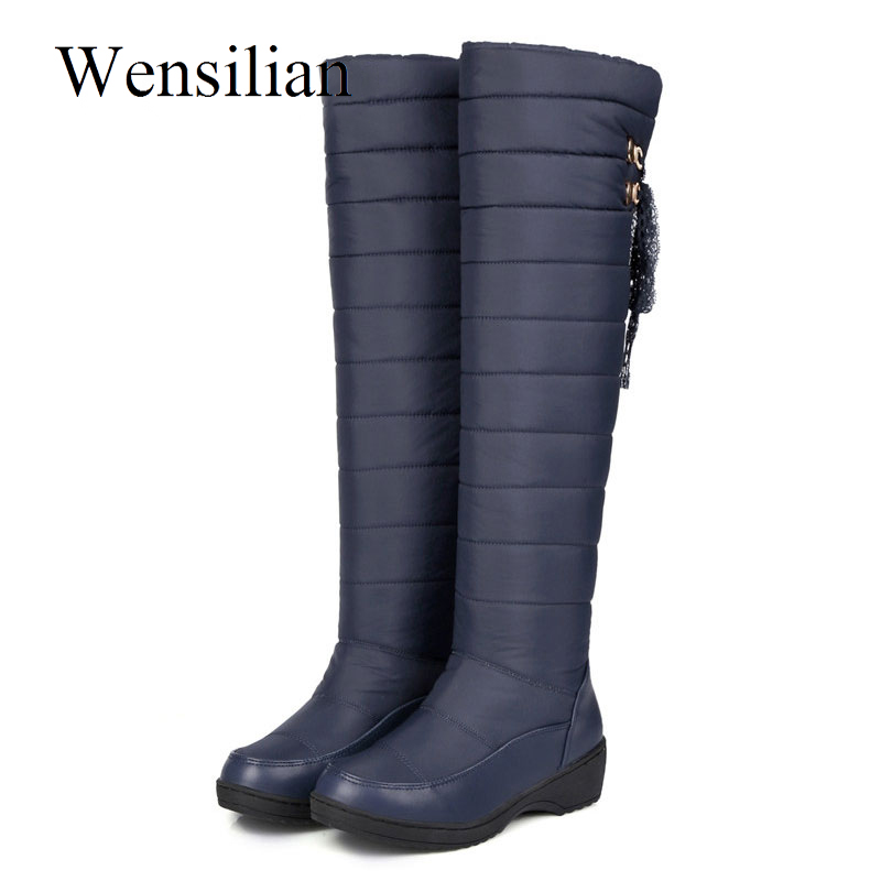 Women Winter Over The Knee High Boots Female Waterproof Down Puff Snow Boots Platform Fringe Thick Plush Ladies Shoes BottesWomen Winter Over The Knee High Boots Female Waterproof Down Puff Snow Boots Platform Fringe Thick Plush Ladies Shoes Bottes