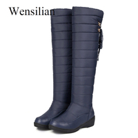 Women Winter Over The Knee High Boots Female Waterproof Down Puff Snow Boots Platform Fringe Thick Plush Ladies Shoes Bottes