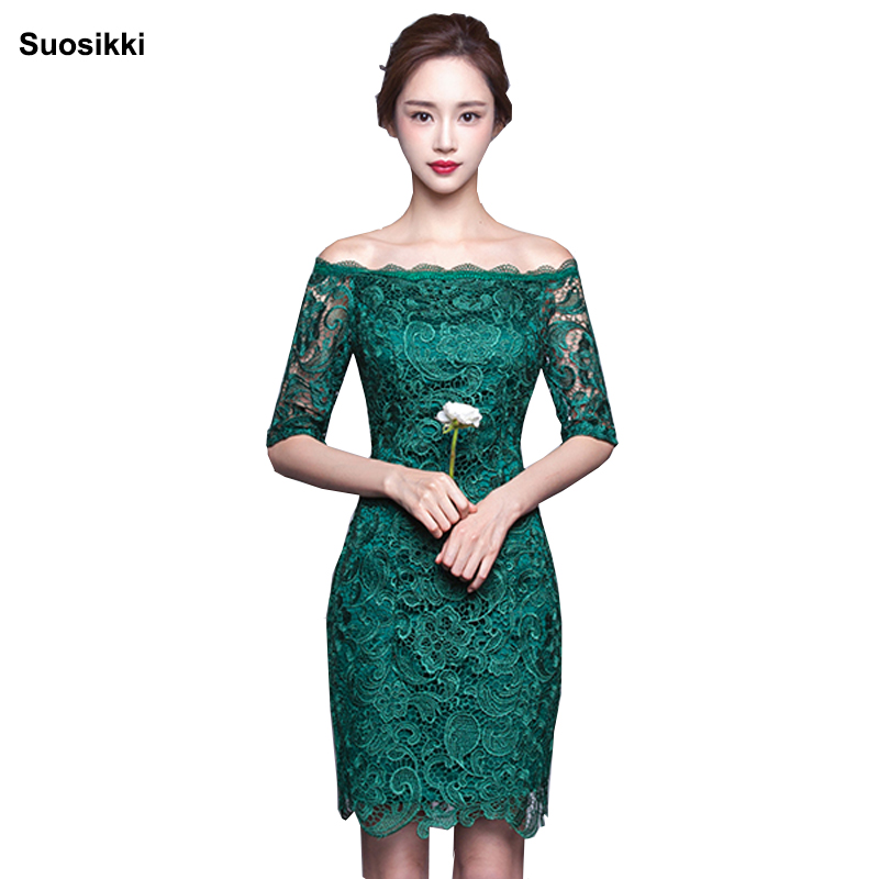 Suosikki New 2018 short fashion elegant medium sleeves lace green color Party bandage   Cocktail     Dress   Red Formal gown