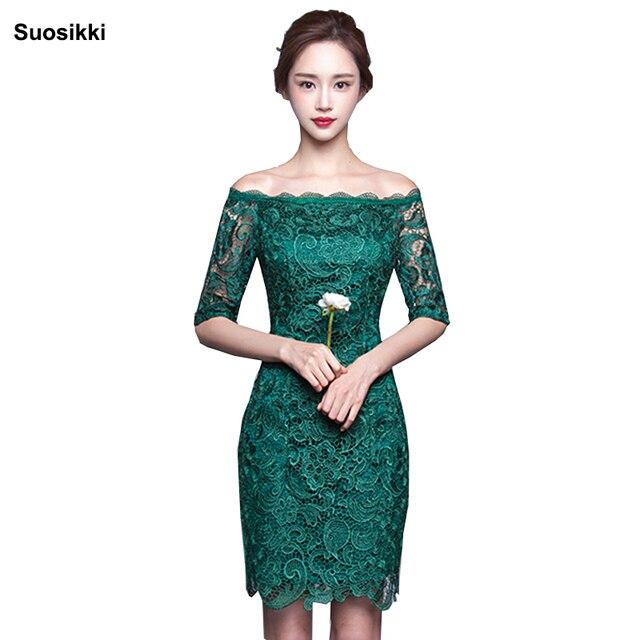 Vestido De Encaje Color Verde Vestidos De Punto 2019