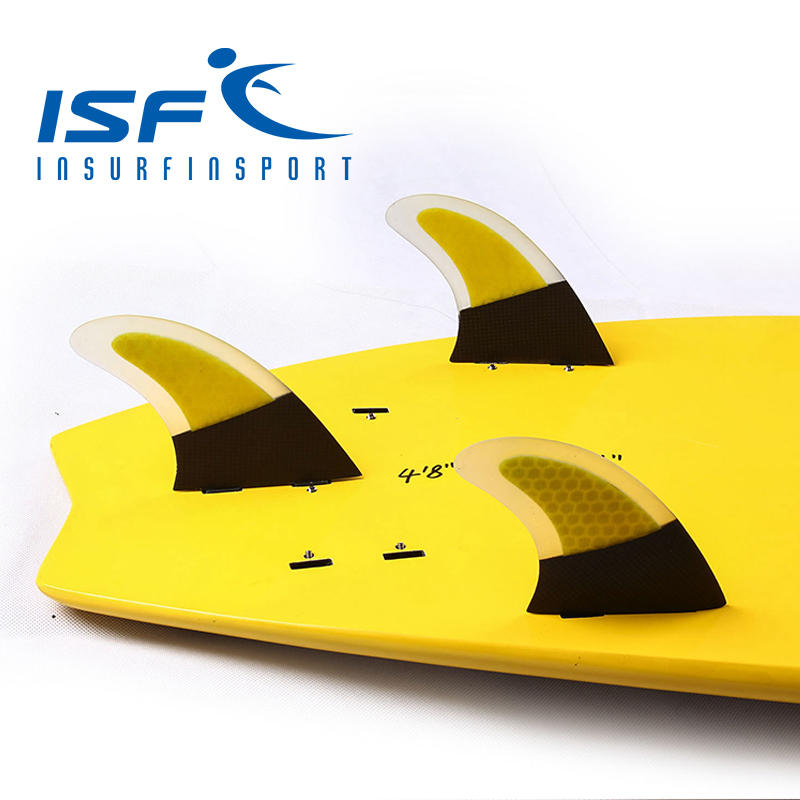 Free Shipping Yellow Honeycomb Carbon Fiber FCS Surfboard Fins