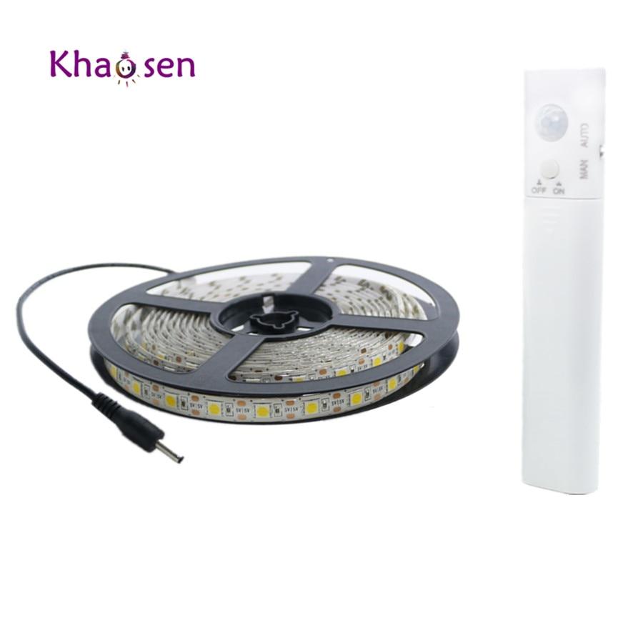 1M 2M 3M Wireless Motion Sensor LED Night Light Bed Cabinet Stairs Light 5050 USB LED Strip Lamp 5V For TV Backlight Lighting