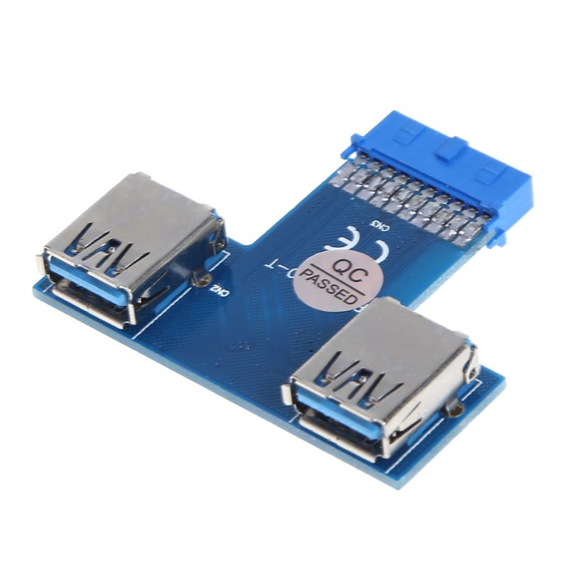 Motherboard 19 Pin Header to 2 Ports USB 3.0 A Female HUB Adapter Connector High Speed Data Transmission Adapter for Miner