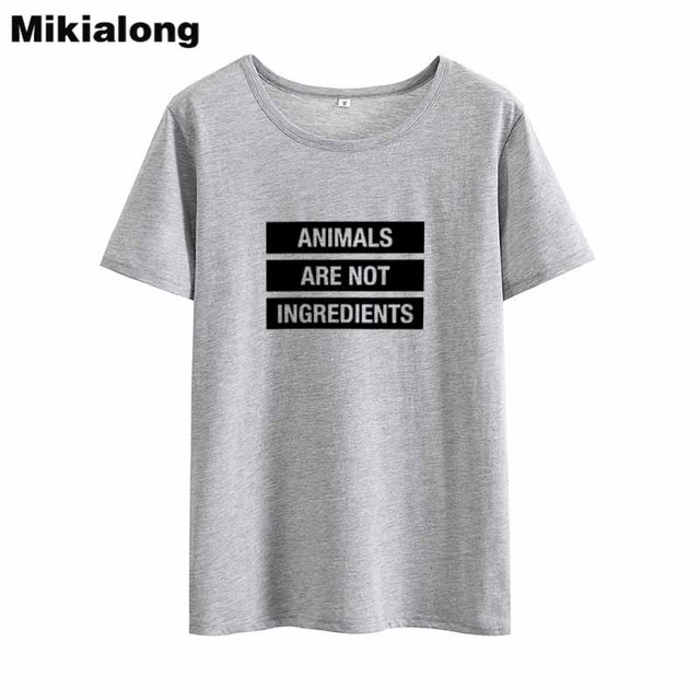554727f53 Mikialong Basic Vegan T shirt Women 2018 Summer Tee Shirt Femme Harajuku Tshirt  Women Cotton Women's T shirts Casual T-shirts