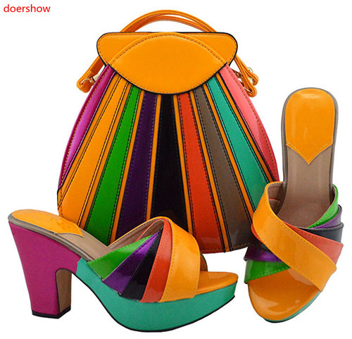doershow orange Shoe and Matching Bag Set African Shoes and Matching Bags Italian Matching Shoes and Bags for ladyPartys HUU1-26