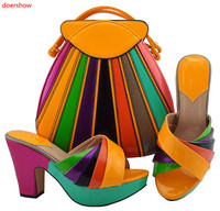 doershow orange Shoe and Matching Bag Set African Shoes and Matching Bags Italian Matching Shoes and Bags for ladyPartys HUU1 26
