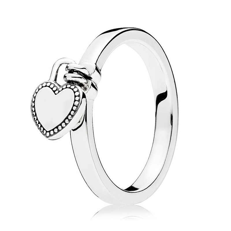 19bd1e97a ... 2018 New Love Lock Two Hearts Open Ring You & Me Crystal 925 Sterling  Silver Ring ...