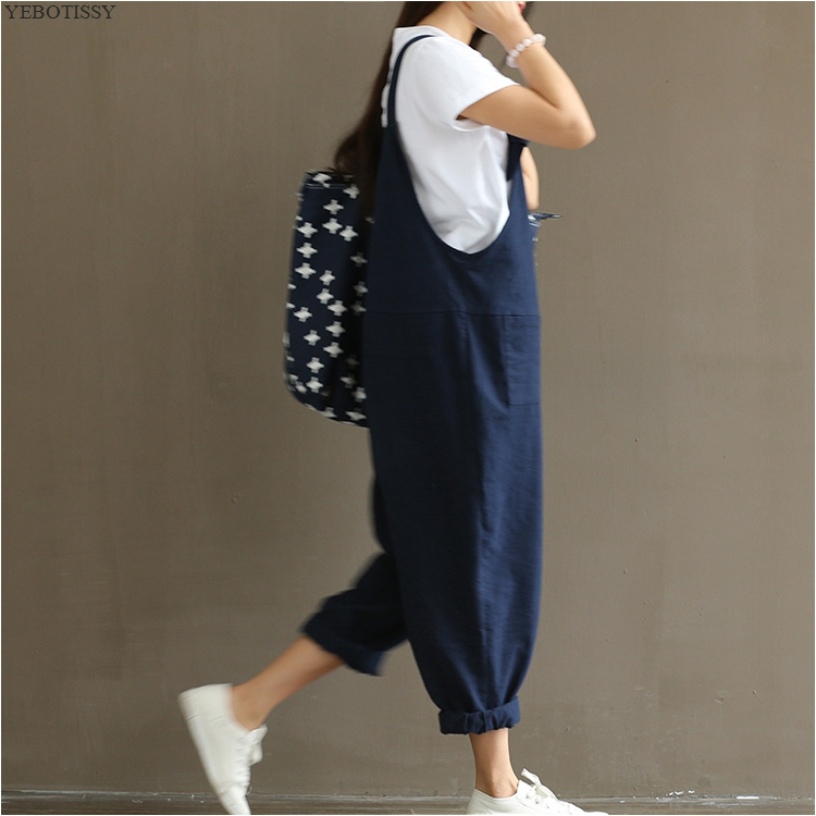 Cloth casual trousers plus big size navy blue fashion overalls 2018 spring and summer girls cotton and linen solid color pants