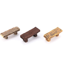 1 pc long wood Bench Miniature Figurine Home Garden DIY Accessories Doll House Decoration
