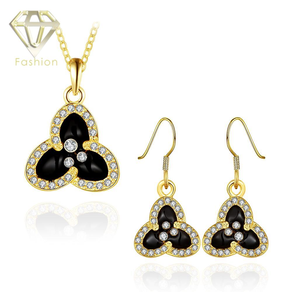 Jewellery S Uk Hot Rose White Gold Color Flower Inlaid Zircon Pendant Necklace Earrings Women Jewelry Sets