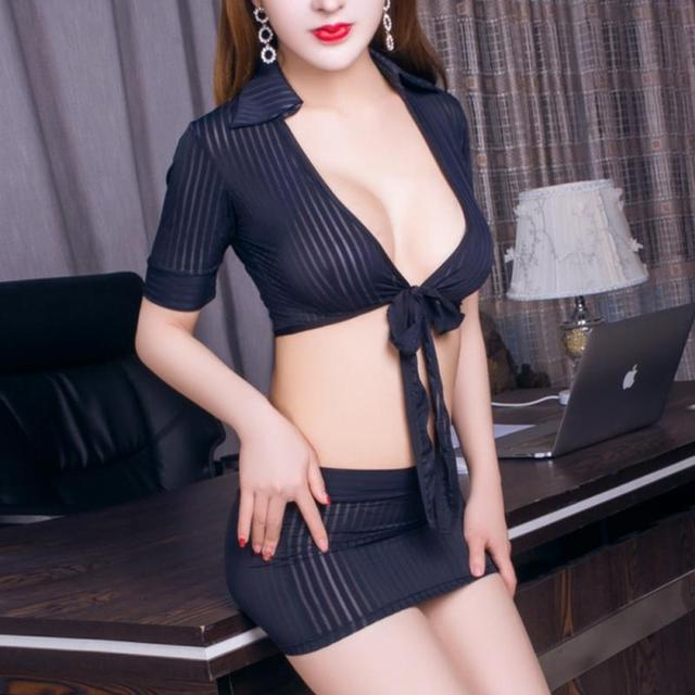Sexy Lingerie Cosplay Set Secretary Uniform Lady V-neck Straps Tops Mini  Skirt