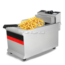 Commercial Electric Deep Fryer Single-tank Stainless Steel French Fries Frying Machine IDZG-903 gas fryer with temperature control stainless steel single tank lpg gas deep fryer with safety device