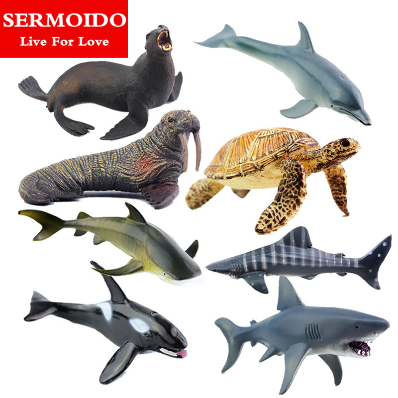 SERMOIDO Sea Life Animals Turtle Toys Set Turtles Figurines Walrus Plastic Shark Fish Model Kids Toy Educational Zoo Figure A154 starz animals emperor penguin static model plastic action figures educational sea life toys gift for kids