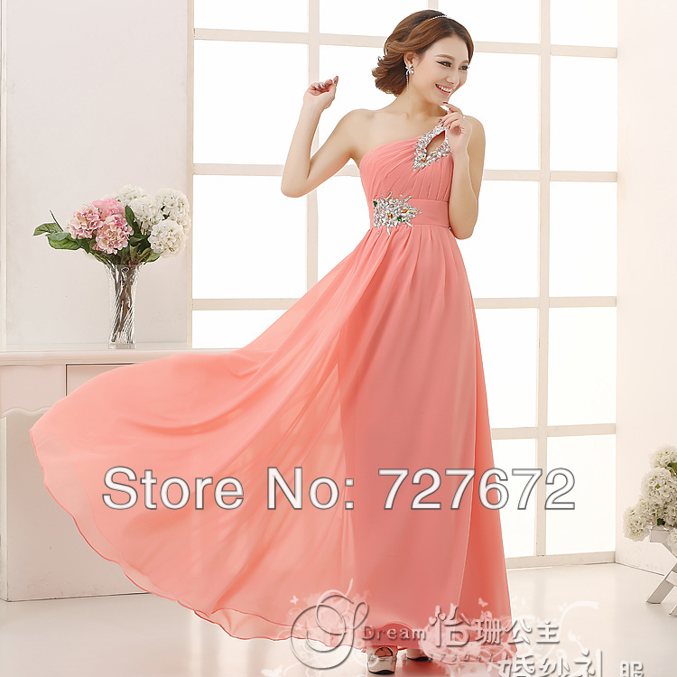 Mint Green bridesmaid dresses Yellow Purple Coral One Shoulder ...