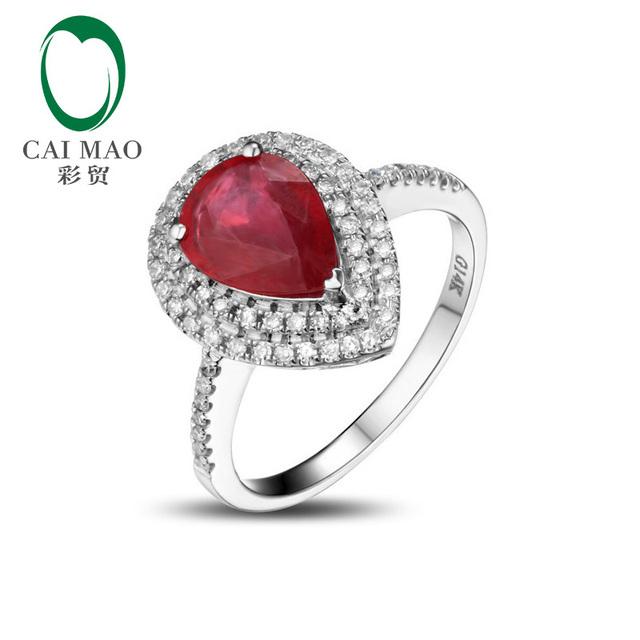 14kt Oro Blanco de La Joyería de Popularidad Caimao Forma de la Pera Rojo Rubí y Diamante Natural Anillo de Compromiso