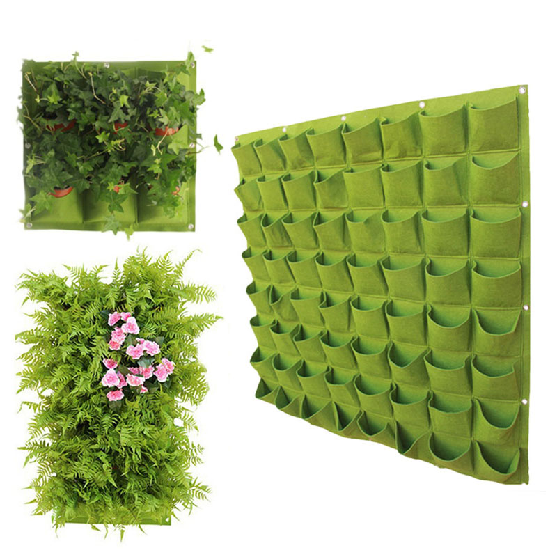 Wall Mount Hanging Planting Bags Multi Pockets Green Grow Bag Planter Vertical Garden Vegetable Living Garden Bag Home Supplies