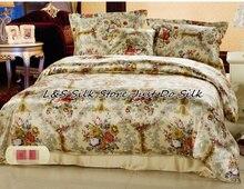Seda Ropa de cama conjunto 4 unids floral seda de mora charmeuse impresión suave seda almohada plana Sábanas Fundas nórdicas ls2125