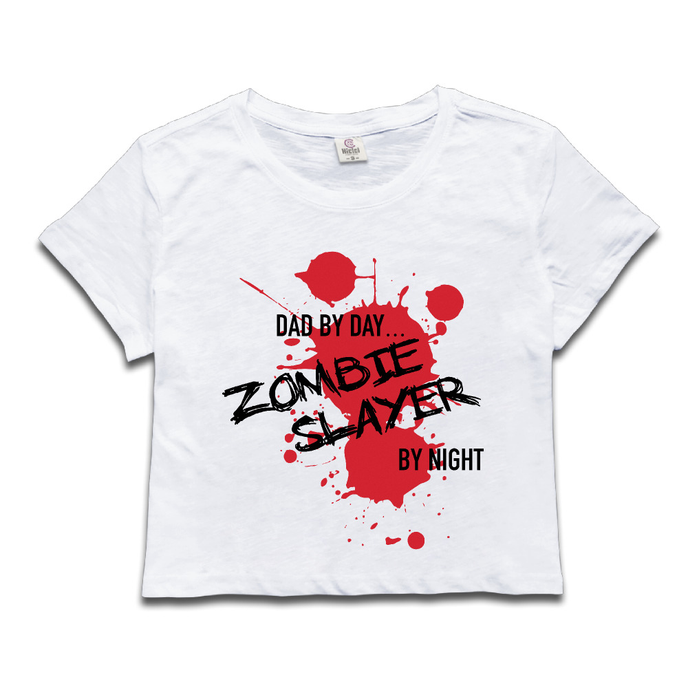 Chi Dad By Day Zombie Slayer By Night Anime Crop Tops Girl Midriff Baring T  Shirt Kawaii New Arrival Belly Hip Hop Shirts Mujerin Tshirts From  Women's