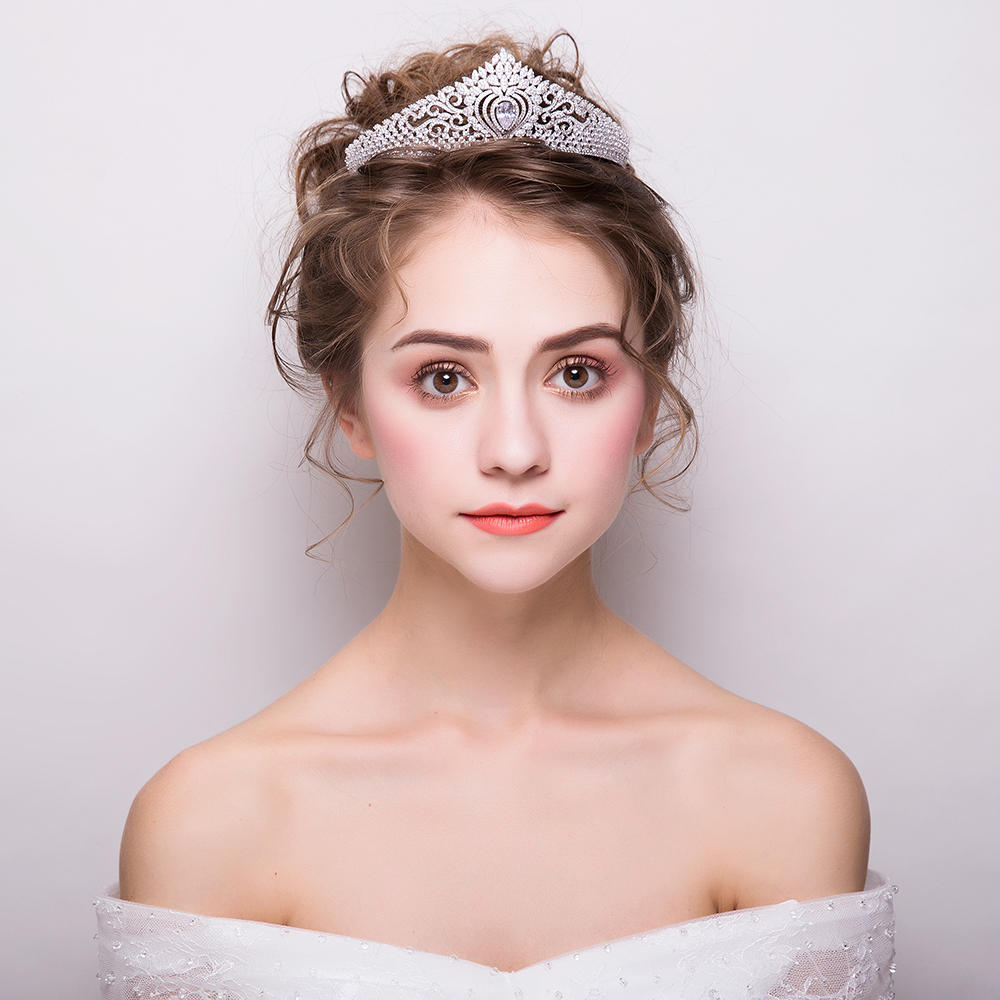 Luxurious Micro Inlays Cubic Zirconia Wedding Bridal Tiara Crown Princess Headdress Hair Jewelry Headpiece Party Zircon Headband цена 2017