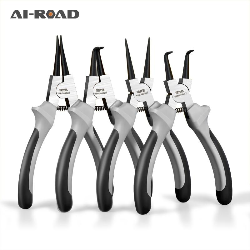 "6""/7""/9"" Multifunctional Shaft hole Snap Ring Pliers Multi Crimp Tool Internal External Ring Remover Retaining Circlip Pliers"