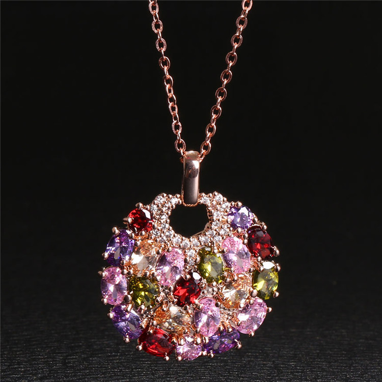 2020 New Original Fashion Jewelry Crystal From Swarovskis Mona Lisa Colored Zircon Pendant Round Flower Moon Round Necklace