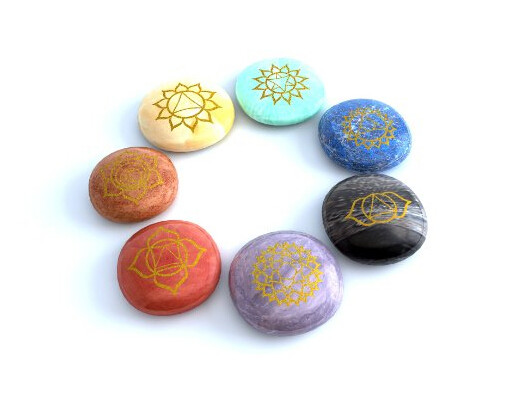 Mystic Ayurveda Healing Crystals - 7 Polished, Engraved Stones to Balance Chakras Holistic Health Care Product