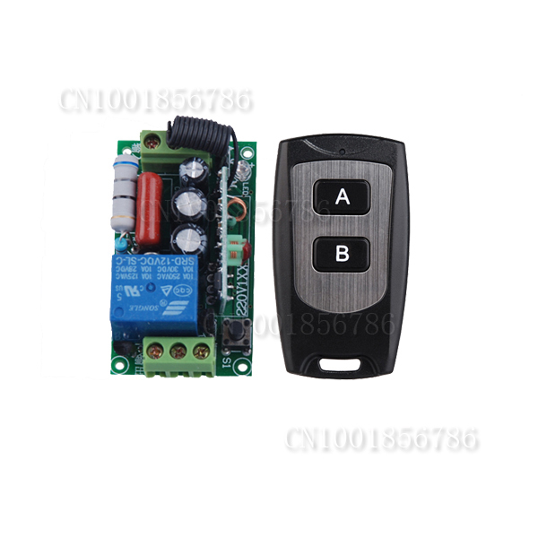 AC220V 1CH 10A Remote Control Light Switch Relay Output Radio Receiver Module and Waterproof Transmitter Free Shipping