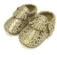New Arrivals Graffiti Suede Genuine Leather Baby Moccasins Metallic Leopard Genuine Leather First Walkers Toddler Baby