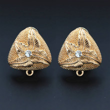 Африканские Клипсы Серьги Пост петля вешалка проложили CZ в виде треугольника результаты DIY Израиль Дубай золотого цвета женские свадебные ювелирные изделия