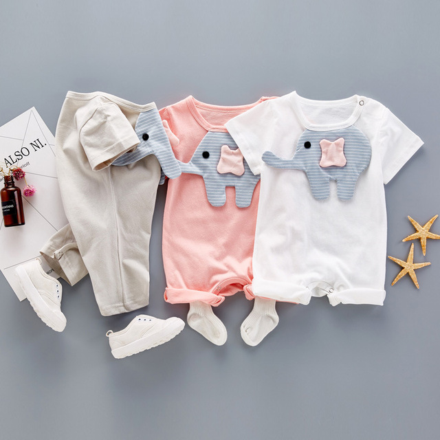 5d852190fc22 2017 Baby Rompers Summer Baby Girl Clothes Cartoon elephant animal ...